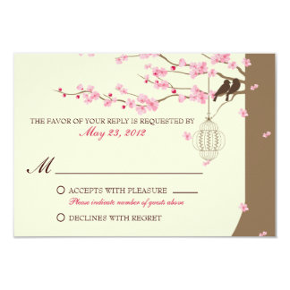 Love Birds Vintage Cage Cherry Blossom RSVP Card