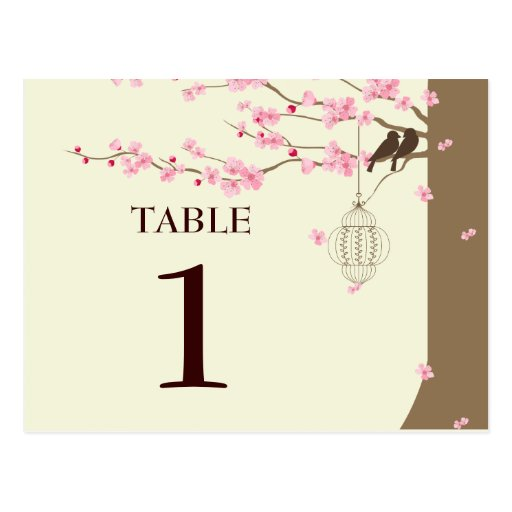 Love Birds Vintage Cage Cherry Blossom Table # Postcards