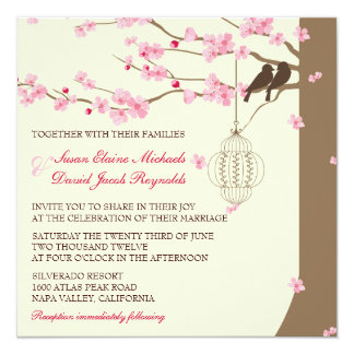 "Love Birds Vintage Cage Cherry Blossom Wedding 5.25"" Square Invitation Card"