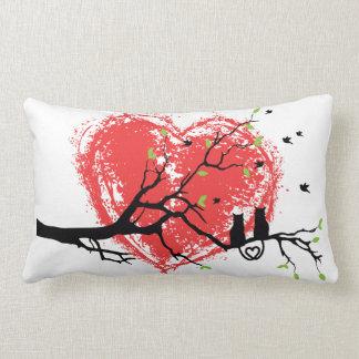 Love Birds Watching Heart Moon Shape Throw Pillow
