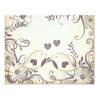 """Love Birds Wedding (blank) 4.25"""" X 5.5"""" Invitation Card"""