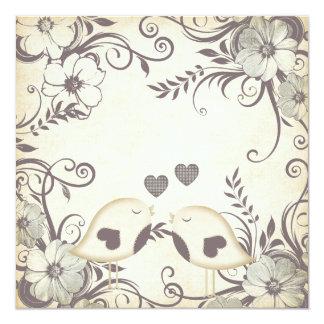 "Love Birds Wedding (blank) 5.25"" Square Invitation Card"