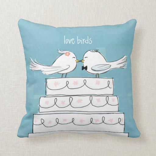 Love Birds Wedding Cake Bride & Groom Kiss Throw Pillows Zazzle