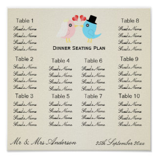 Love Birds Wedding Dinner Seating Plan Poster