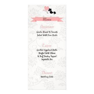 Love birds wedding menu custom rack cards
