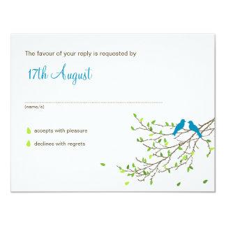Love Birds Wedding RSVP Blue & Greens Card