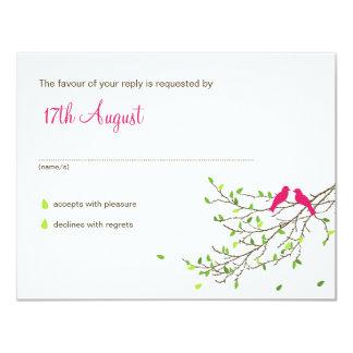 Love Birds Wedding RSVP Magenta & Greens Card