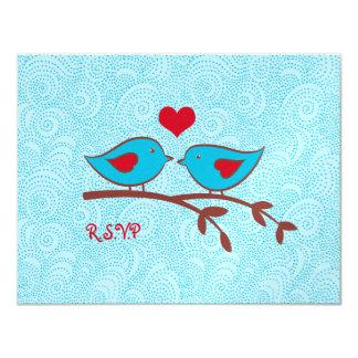 "Love Birds Wedding RSVP response card postcard 4.25"" X 5.5"" Invitation Card"
