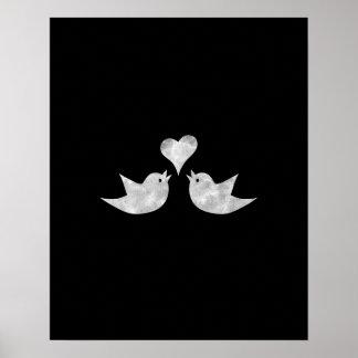 Love Birds with Heart Custom Colour Poster