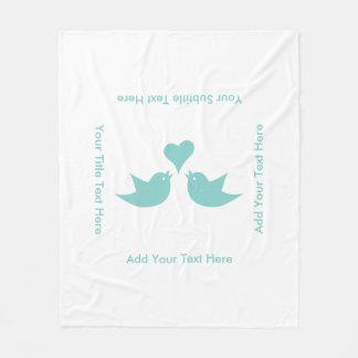 Love Birds with Heart Custom Text Fleece Blanket