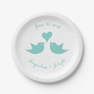 Love Birds with Heart Custom Wedding 7 Inch Paper Plate