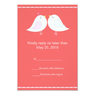 Love Birds with Red Background RSVP Card