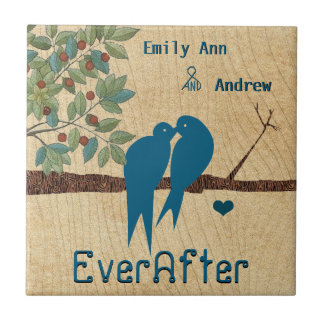 Love Birds Wood Grain Tree Ever After Anniversary Tile