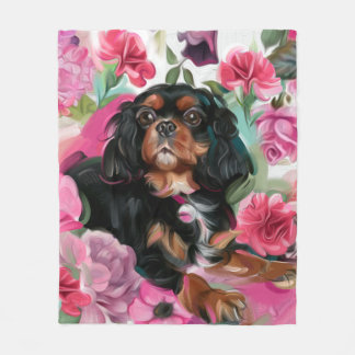 """LOVE"" Black and Tan Cavalier blanket MEDIUM"