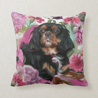 'LOVE' Black and tan Cavalier pillow