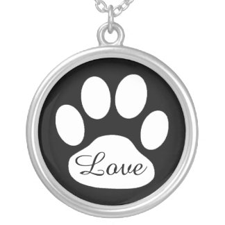 Love Black and White Paw Print Dog or Cat Necklace