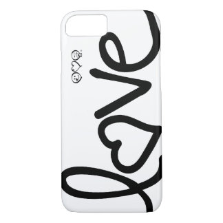 love - black and white typography iPhone 8/7 case