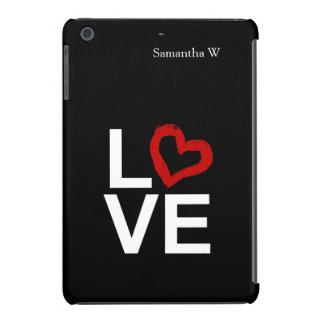 LOVE, Black and White with Red Sketched Heart iPad Mini Covers