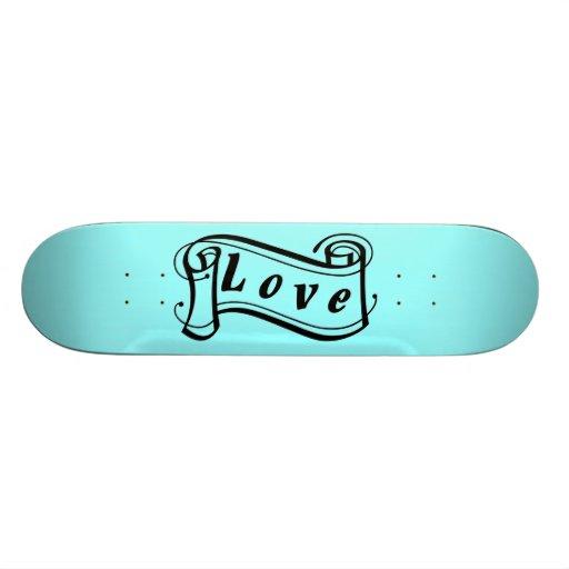 Love black blue scroll Fantasy kind - Skate Board Decks