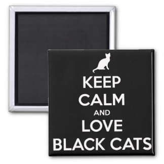 Love Black Cats 2 Inch Square Magnet