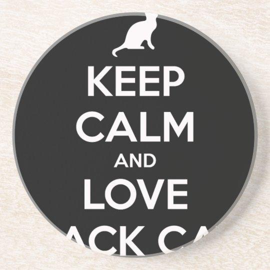 Love Black Cats Beverage Coaster
