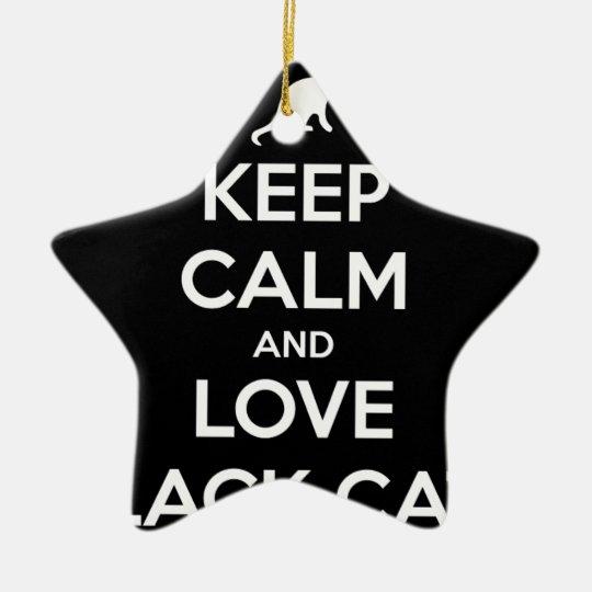 Love Black Cats Ceramic Star Ornament