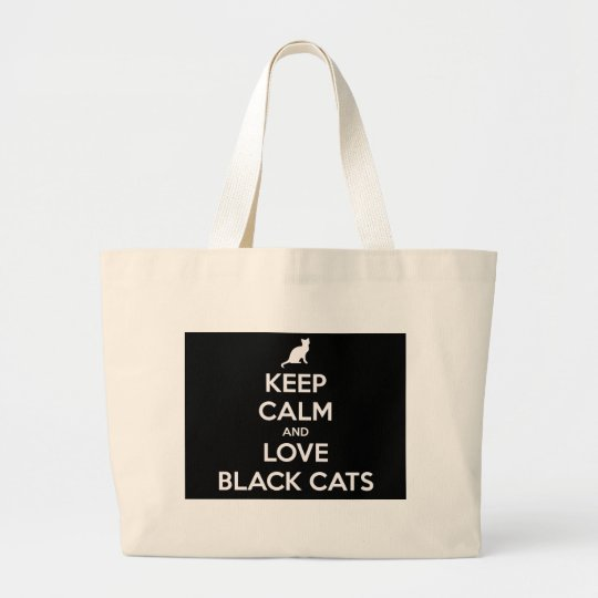 Love Black Cats Large Tote Bag