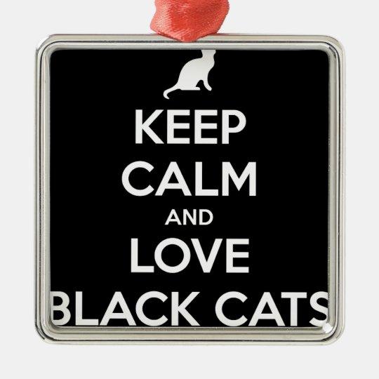 Love Black Cats Silver-Colored Square Ornament