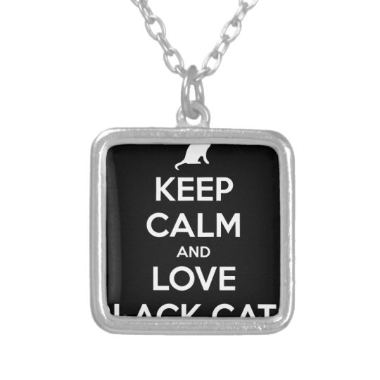 Love Black Cats Silver Plated Necklace