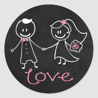 Love Black Chalkboard Bride & Groom Wedding Round Stickers