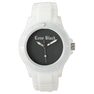 Love Black Custom Sporty White Silicon Wrist Watches