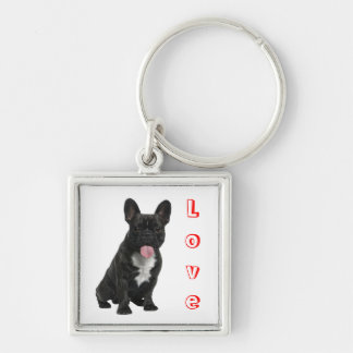 Love  Black French Bulldog Puppy Dog Keychain