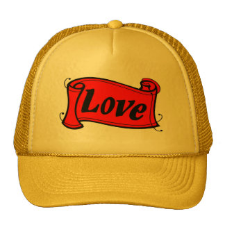 Love black red writing volume trucker hat
