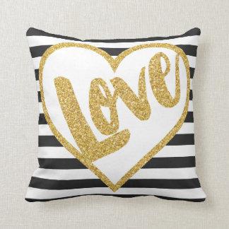 Love Black & White Gold Glitter Stripes Pillows