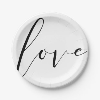 LOVE Black White Modern Typography Wedding Party Paper Plate