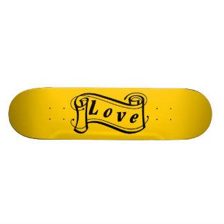 Love black yellow scroll Fantasy kind - Custom Skate Board
