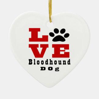 Love Bloodhound Dog Designes Ceramic Heart Ornament