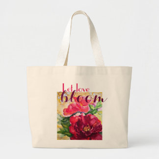 Love Bloom Rose Watercolor Art Jumbo Tote