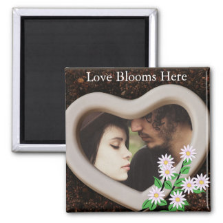 """""""Love Blooms Here"""" Add Your Photo Magnet"""