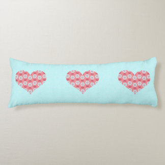 Love Blooms in My Heart Blue Body Pillow