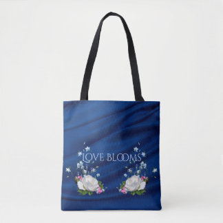 Love Blooms White Roses Blue Drape Custom Tote Bag