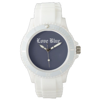 Love Blue Custom Sporty White Silicon Watch