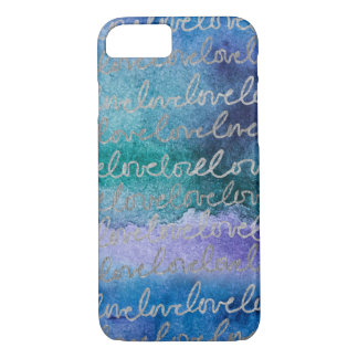 Love Blue Purple Silver Abstract Modern Watercolor iPhone 8/7 Case