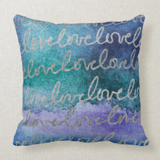 Love Blue Purple Silver Abstract Modern Watercolor Throw Pillow