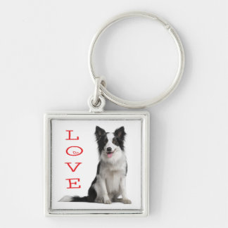Love Border Collie Puppy Dog Keychain