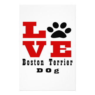 Love Boston Terrier Dog Designes Stationery Paper