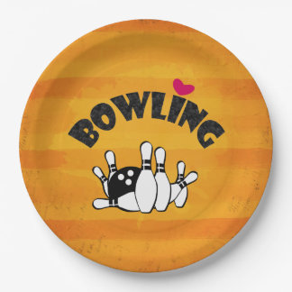 Love Bowling -  B&W Bowling Pins and Ball 9 Inch Paper Plate
