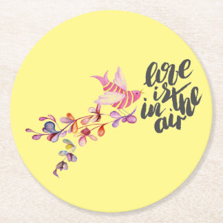 Love Branch Bird Round Paper Coaster