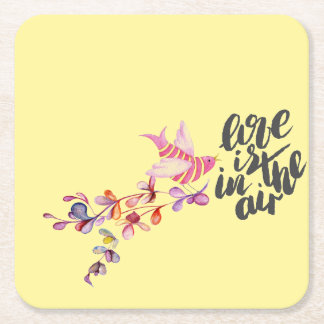 Love Branch Bird Square Paper Coaster