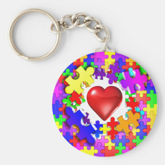 Love Breaks Thru Autism Basic Round Button Keychain